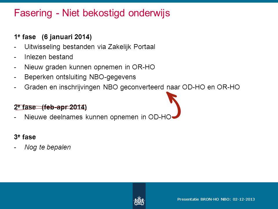 Presentatie BRON-HO NBO: 02-12-2013 Fasering - Niet bekostigd onderwijs 1 e fase (6 januari 2014) -Uitwisseling bestanden via Zakelijk Portaal -Inlezen bestand -Nieuw graden kunnen opnemen in OR-HO -Beperken ontsluiting NBO-gegevens -Graden en inschrijvingen NBO geconverteerd naar OD-HO en OR-HO 2 e fase(feb-apr 2014) -Nieuwe deelnames kunnen opnemen in OD-HO 3 e fase -Nog te bepalen