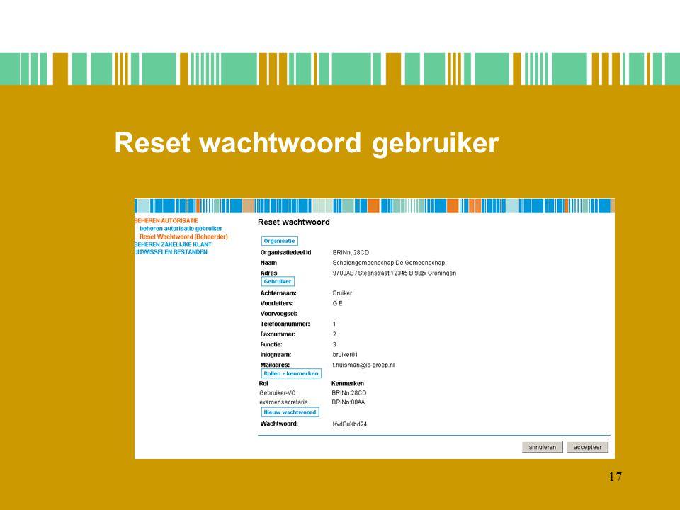 17 Reset wachtwoord gebruiker