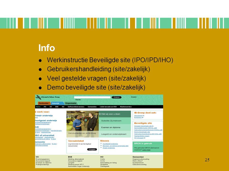 25 Info Werkinstructie Beveiligde site (IPO/IPD/IHO) Gebruikershandleiding (site/zakelijk) Veel gestelde vragen (site/zakelijk) Demo beveiligde site (site/zakelijk)
