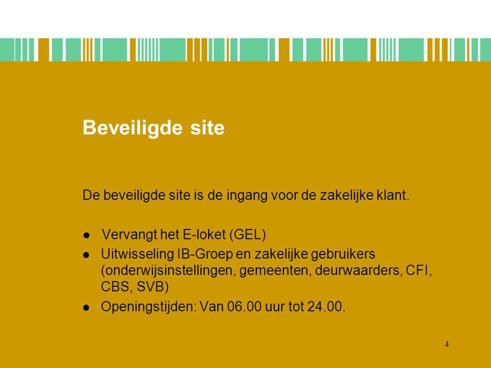 4 Beveiligde site De beveiligde site is de ingang voor de zakelijke klant.