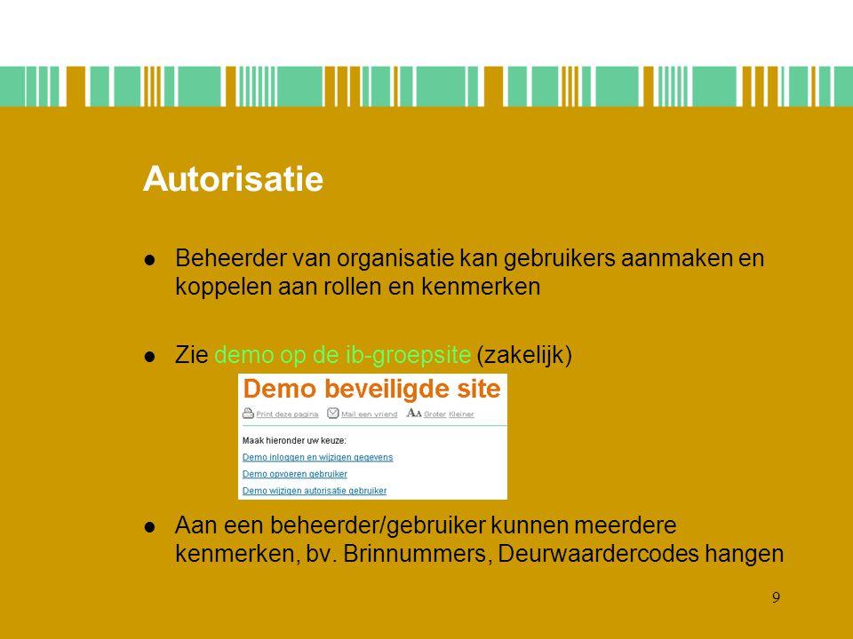 9 Autorisatie Beheerder van organisatie kan gebruikers aanmaken en koppelen aan rollen en kenmerken Zie demo op de ib-groepsite (zakelijk) Aan een beheerder/gebruiker kunnen meerdere kenmerken, bv.