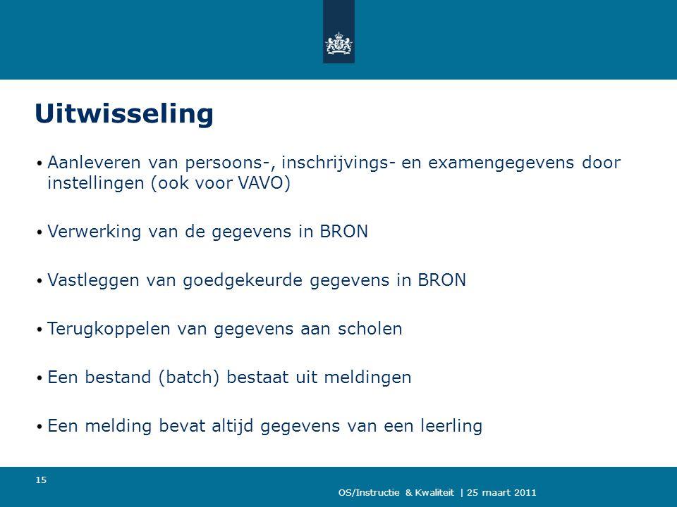 OS/Instructie & Kwaliteit | 25 maart 2011 15 Uitwisseling Aanleveren van persoons-, inschrijvings- en examengegevens door instellingen (ook voor VAVO)