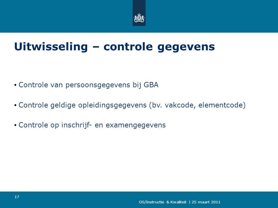 OS/Instructie & Kwaliteit | 25 maart 2011 17 Uitwisseling – controle gegevens Controle van persoonsgegevens bij GBA Controle geldige opleidingsgegevens (bv.