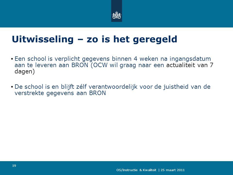 OS/Instructie & Kwaliteit | 25 maart 2011 19 Uitwisseling – zo is het geregeld Een school is verplicht gegevens binnen 4 weken na ingangsdatum aan te