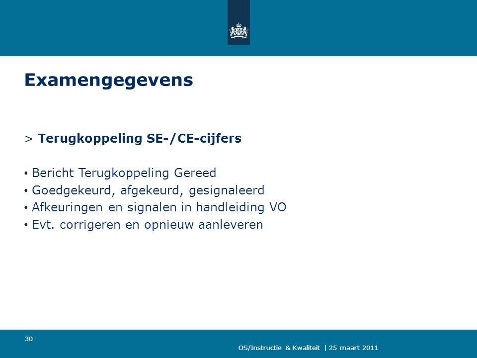 OS/Instructie & Kwaliteit | 25 maart 2011 30 Examengegevens > Terugkoppeling SE-/CE-cijfers Bericht Terugkoppeling Gereed Goedgekeurd, afgekeurd, gesignaleerd Afkeuringen en signalen in handleiding VO Evt.