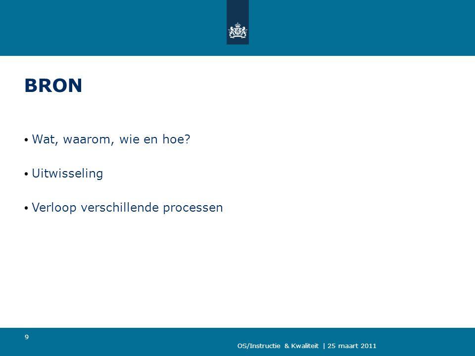 OS/Instructie & Kwaliteit | 25 maart 2011 9 BRON Wat, waarom, wie en hoe? Uitwisseling Verloop verschillende processen