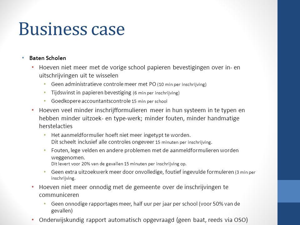 Business case Baten Scholen Hoeven niet meer met de vorige school papieren bevestigingen over in- en uitschrijvingen uit te wisselen Geen administrati
