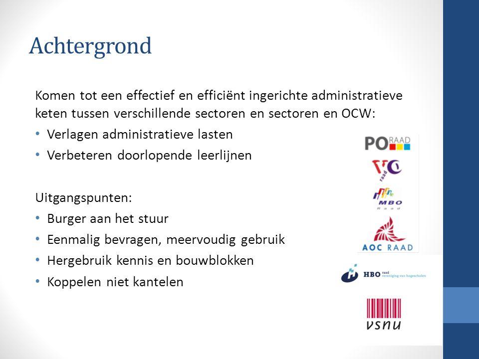 Achtergrond Komen tot een effectief en efficiënt ingerichte administratieve keten tussen verschillende sectoren en sectoren en OCW: Verlagen administr