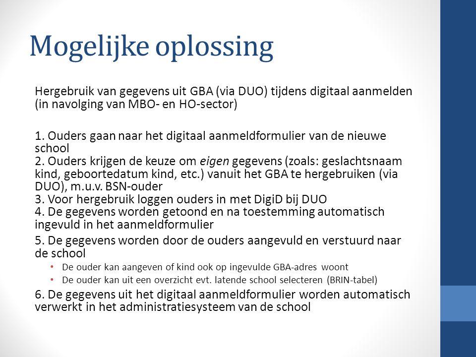 Mogelijke oplossing Hergebruik van gegevens uit GBA (via DUO) tijdens digitaal aanmelden (in navolging van MBO- en HO-sector) 1. Ouders gaan naar het