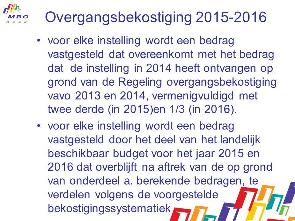 Overgangsbekostiging 2015-2016 voor elke instelling wordt een bedrag vastgesteld dat overeenkomt met het bedrag dat de instelling in 2014 heeft ontvangen op grond van de Regeling overgangsbekostiging vavo 2013 en 2014, vermenigvuldigd met twee derde (in 2015)en 1/3 (in 2016).