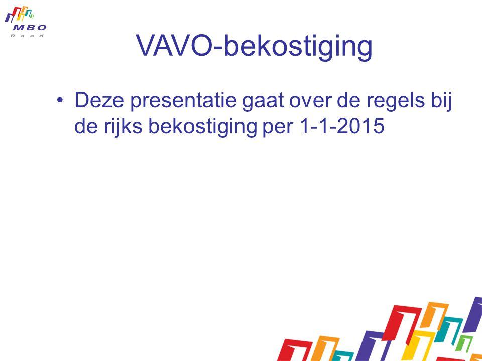 VAVO-bekostiging Deze presentatie gaat over de regels bij de rijks bekostiging per 1-1-2015