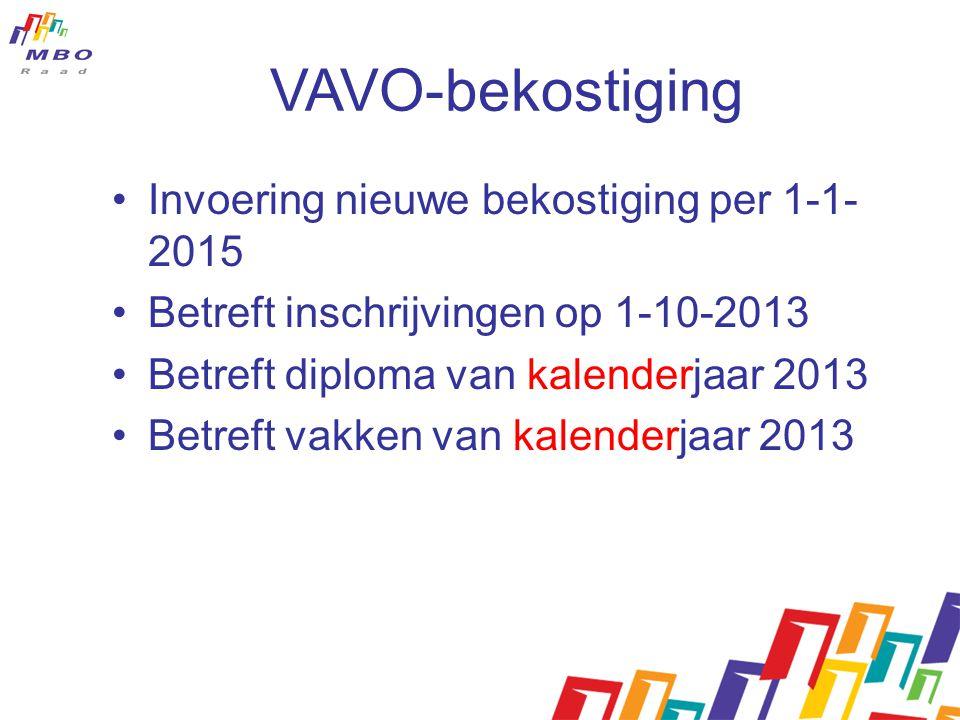 VAVO-bekostiging Invoering nieuwe bekostiging per 1-1- 2015 Betreft inschrijvingen op 1-10-2013 Betreft diploma van kalenderjaar 2013 Betreft vakken van kalenderjaar 2013