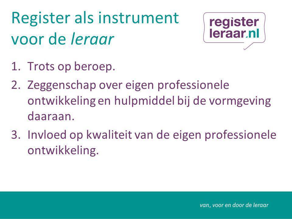 Hoe werkt het.Registratie: bevoegd, bekwaam en met aanstelling als leraar.