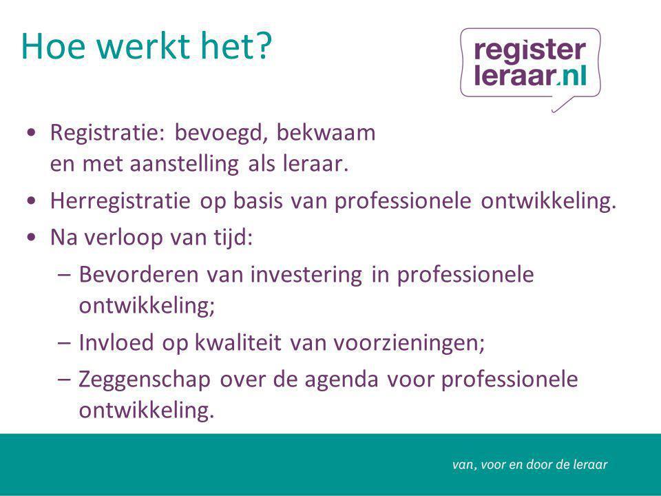 Criteria voor registratie De juiste bevoegdheid voor de sector Een dienstverband van tenminste 0,2 fte als leraar of ZZP'er of invaller Werkloos maar werkzoekend is in het onderwijs.