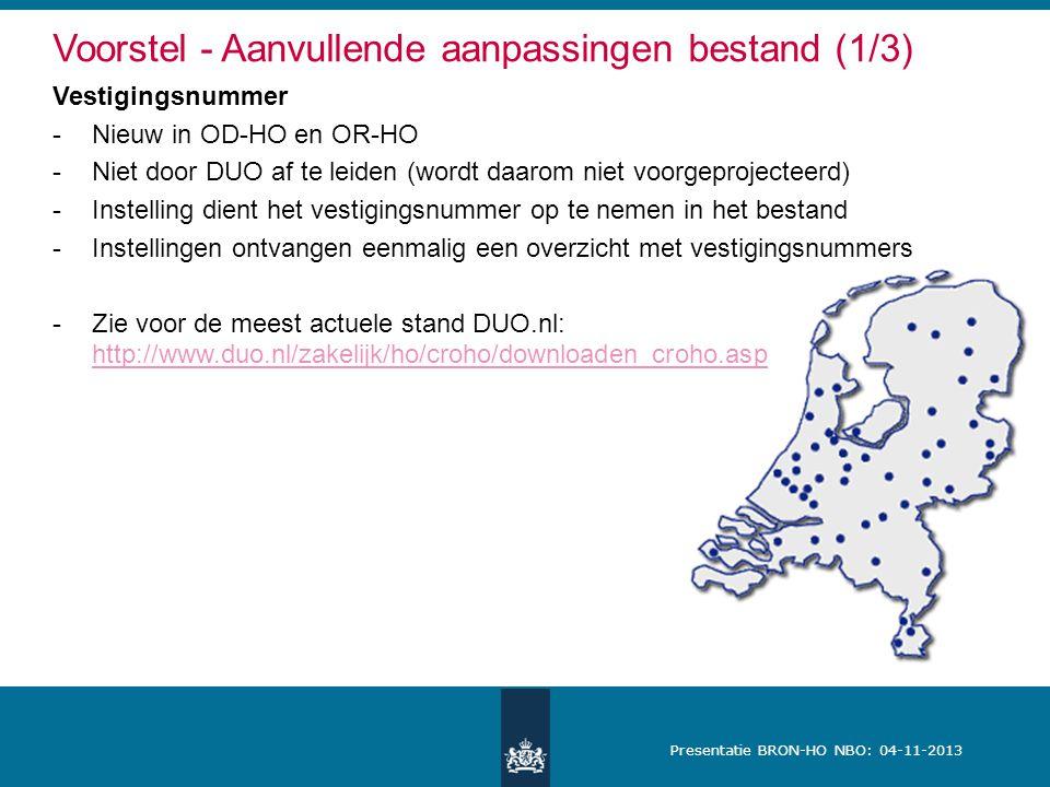 Presentatie BRON-HO NBO: 04-11-2013 Voorstel - Aanvullende aanpassingen bestand (1/3) Vestigingsnummer -Nieuw in OD-HO en OR-HO -Niet door DUO af te l