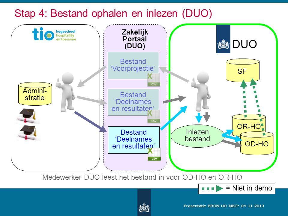 Presentatie BRON-HO NBO: 04-11-2013 Zakelijk Portaal (DUO) DUO Stap 4: Bestand ophalen en inlezen (DUO) SF Admini- stratie OR-HO OD-HO Inlezen bestand