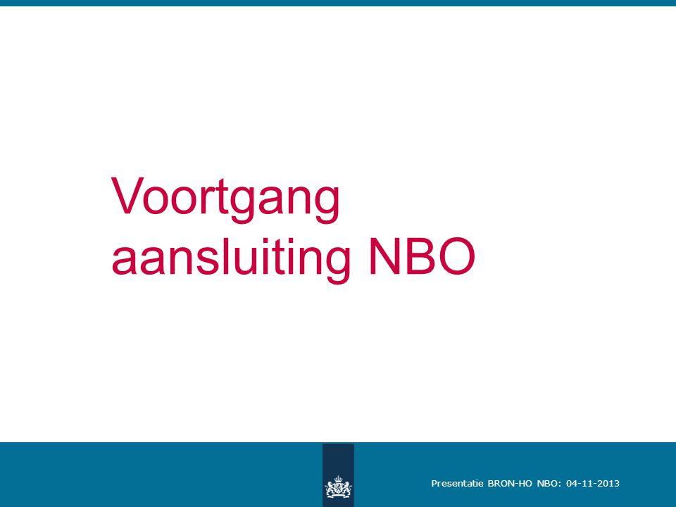 Presentatie BRON-HO NBO: 04-11-2013 Voortgang aansluiting NBO
