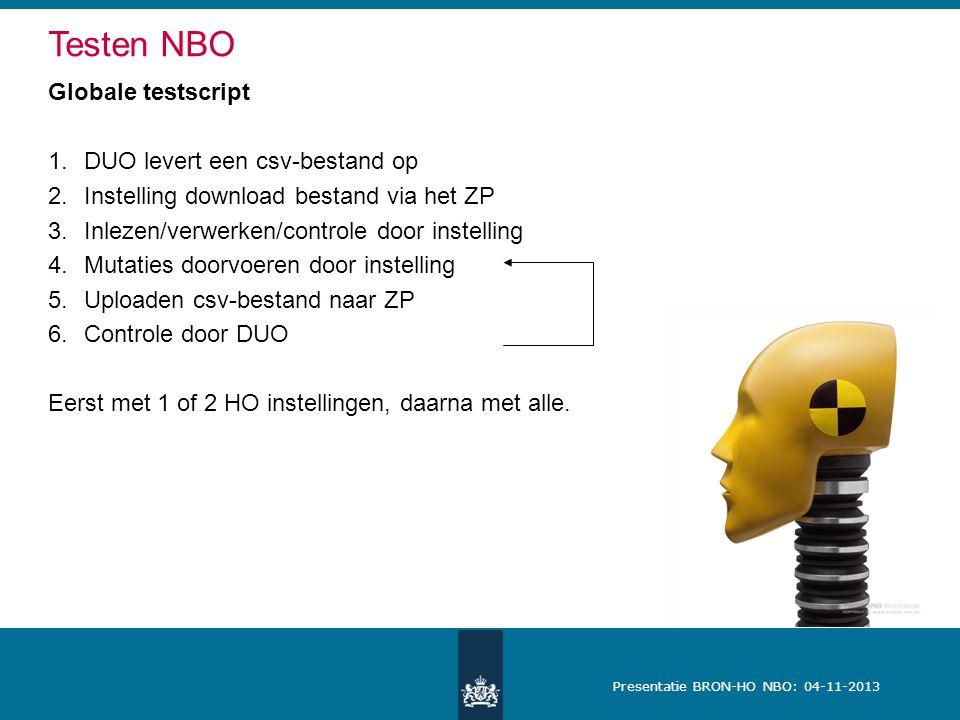 Presentatie BRON-HO NBO: 04-11-2013 Globale testscript 1.DUO levert een csv-bestand op 2.Instelling download bestand via het ZP 3.Inlezen/verwerken/co
