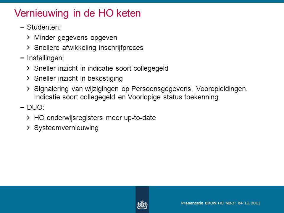 Presentatie BRON-HO NBO: 04-11-2013 Vernieuwing in de HO keten Studenten: Minder gegevens opgeven Snellere afwikkeling inschrijfproces Instellingen: S