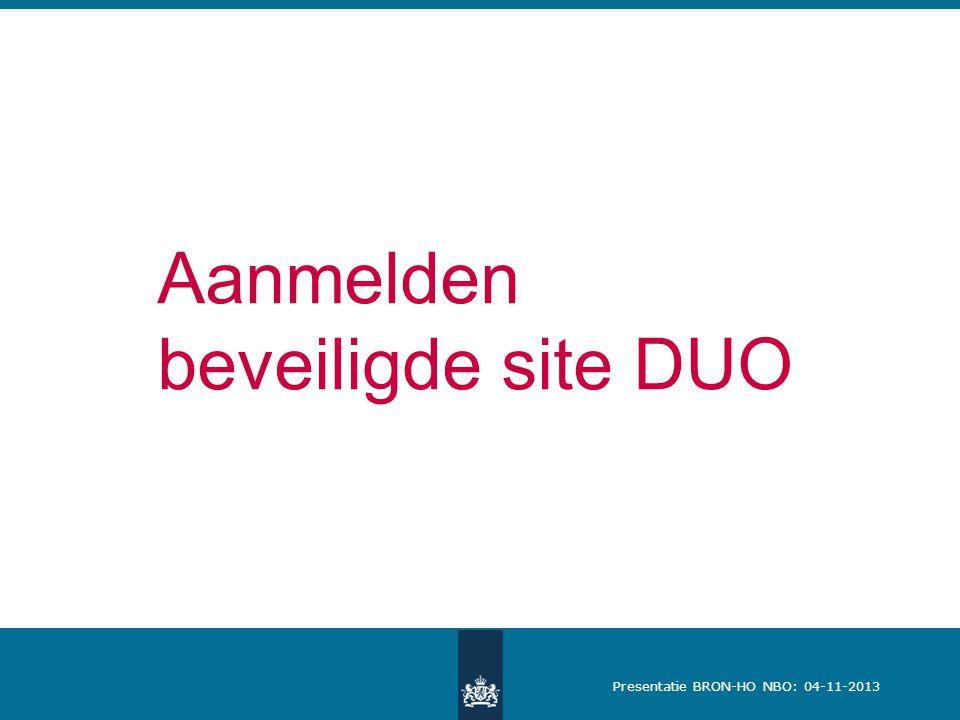 Aanmelden beveiligde site DUO