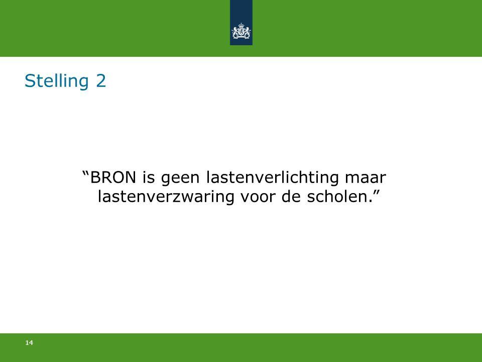 """14 Stelling 2 """"BRON is geen lastenverlichting maar lastenverzwaring voor de scholen."""""""