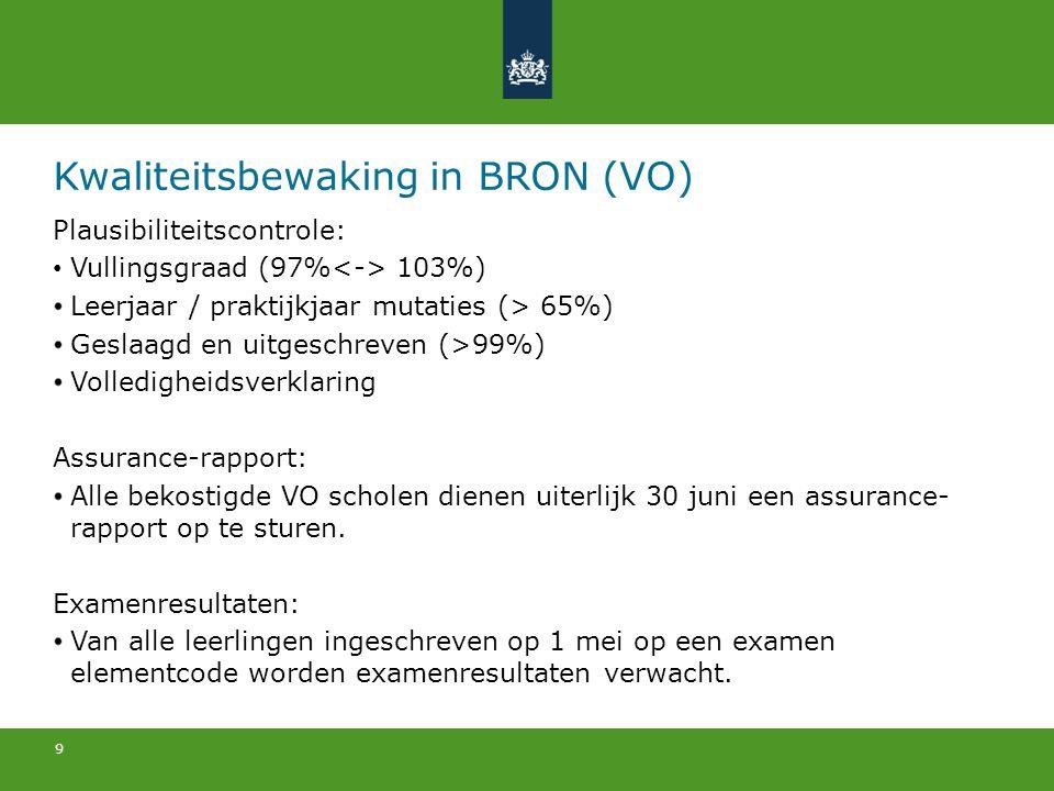 9 Kwaliteitsbewaking in BRON (VO) Plausibiliteitscontrole: Vullingsgraad (97% 103%) Leerjaar / praktijkjaar mutaties (> 65%) Geslaagd en uitgeschreven