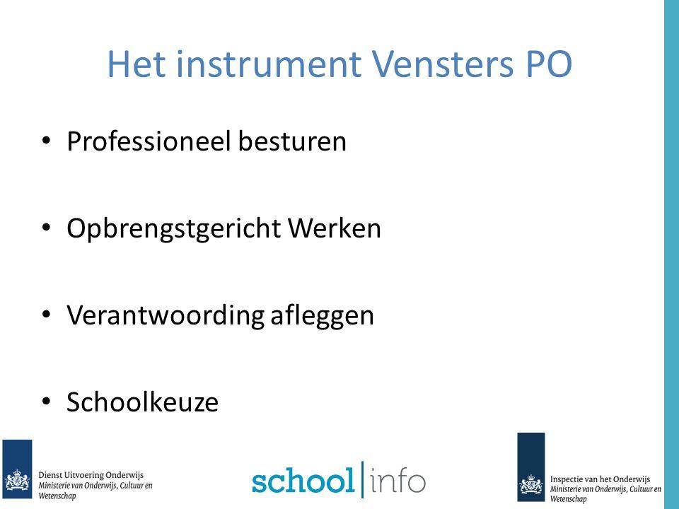 Opzet project Vensters PO Van en voor Uniform Koppeling informatie Betrouwbaar Heldere presentatie Minder lastendruk