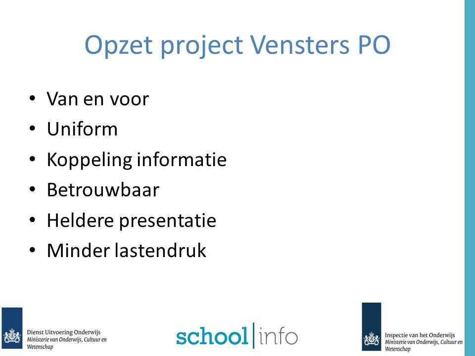 Eindresultaten in Vensters PO Niet afkomstig van Inspectie Doel Vensters PO: voor alle scholen zo nauwkeurig en eenduidig mogelijk gemiddelde toetsscores tonen.