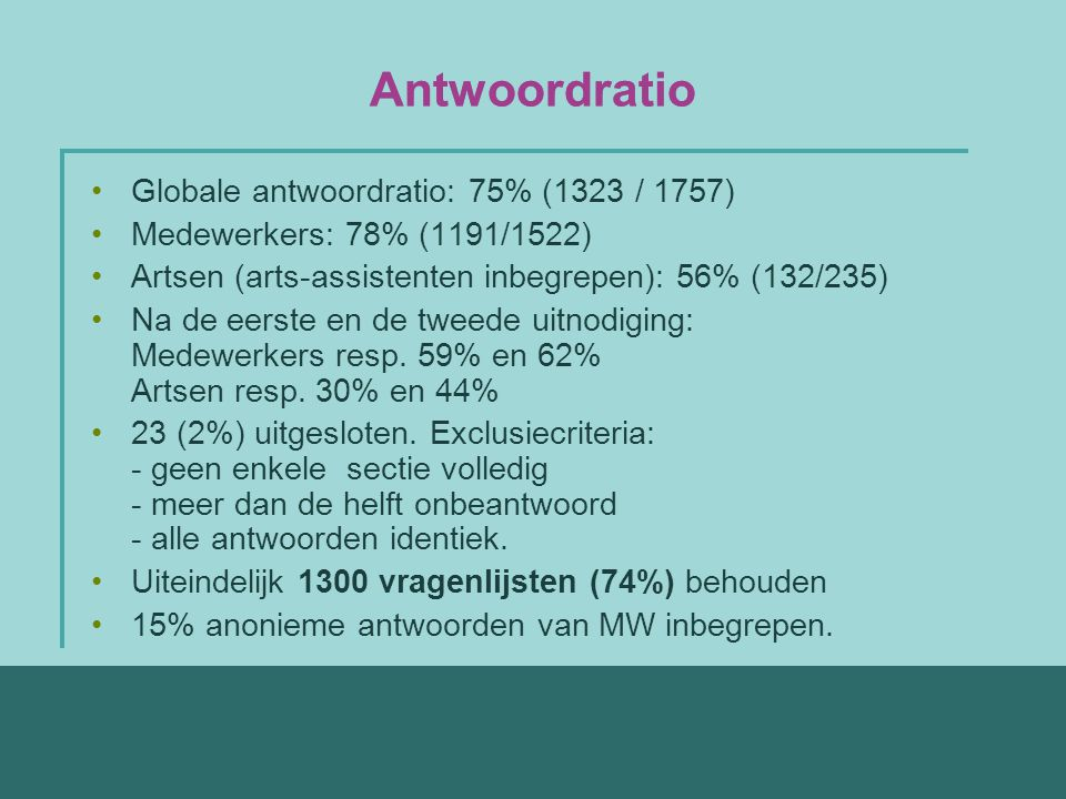 Antwoordratio Globale antwoordratio: 75% (1323 / 1757) Medewerkers: 78% (1191/1522) Artsen (arts-assistenten inbegrepen): 56% (132/235) Na de eerste en de tweede uitnodiging: Medewerkers resp.