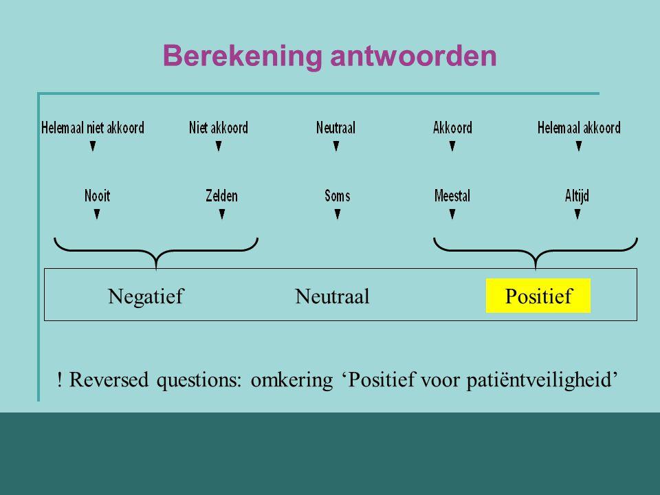 Berekening antwoorden Negatief Positief Neutraal ! Reversed questions: omkering 'Positief voor patiëntveiligheid'