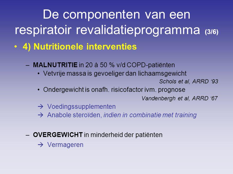 De componenten van een respiratoir revalidatieprogramma (3/6) 4) Nutritionele interventies –MALNUTRITIE in 20 à 50 % v/d COPD-patiënten Vetvrije massa