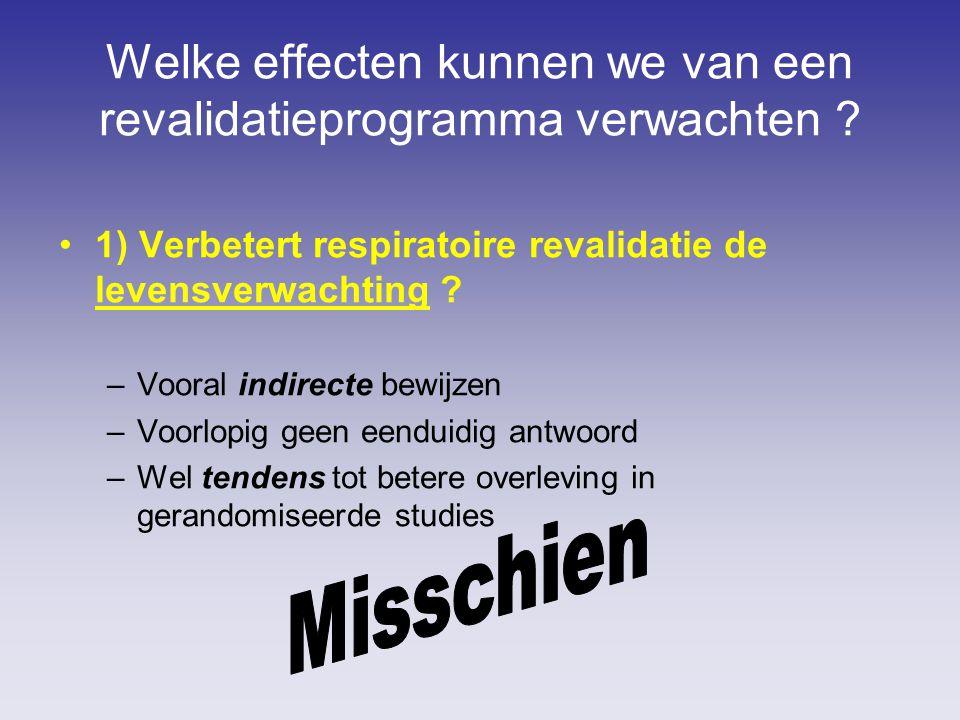 Welke effecten kunnen we van een revalidatieprogramma verwachten ? 1) Verbetert respiratoire revalidatie de levensverwachting ? –Vooral indirecte bewi