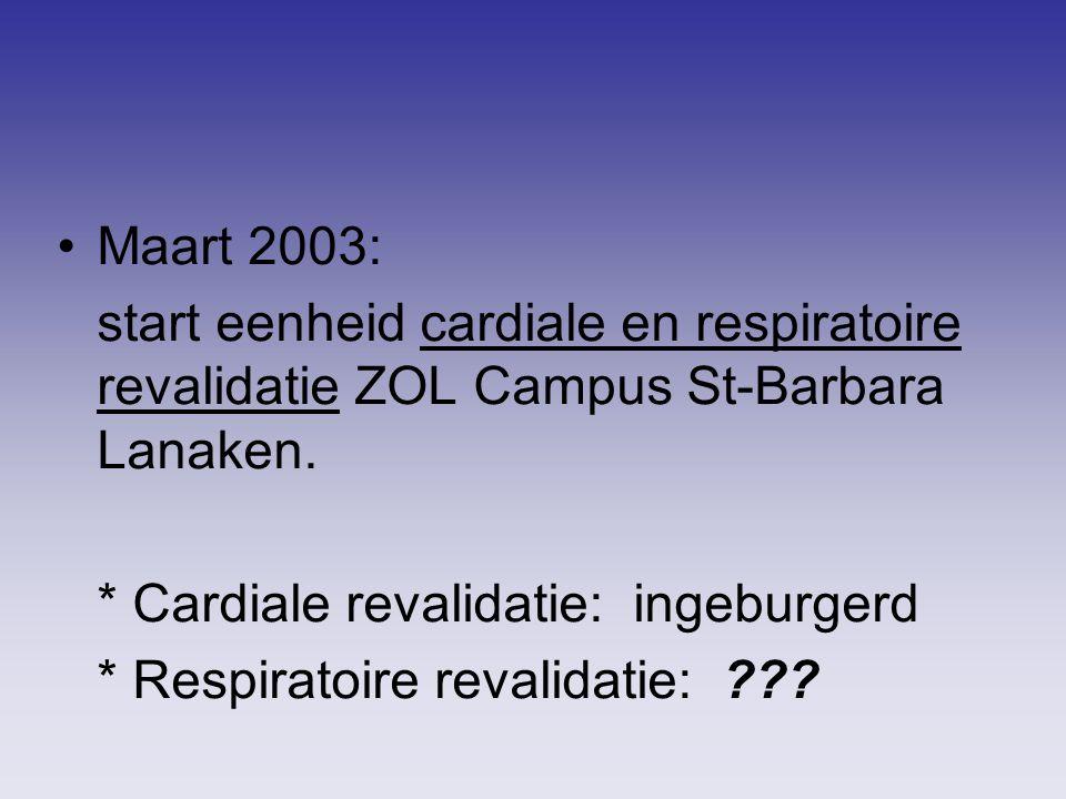 Maart 2003: start eenheid cardiale en respiratoire revalidatie ZOL Campus St-Barbara Lanaken. * Cardiale revalidatie: ingeburgerd * Respiratoire reval