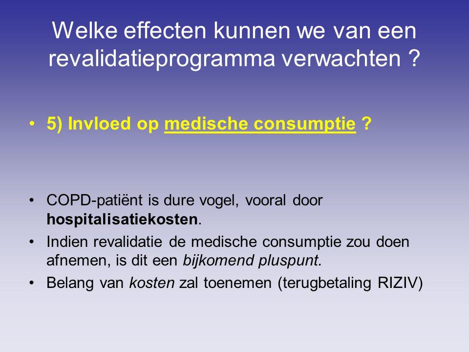 Welke effecten kunnen we van een revalidatieprogramma verwachten ? 5) Invloed op medische consumptie ? COPD-patiënt is dure vogel, vooral door hospita
