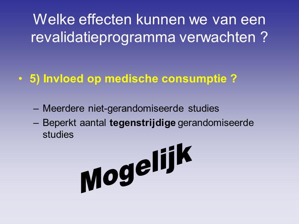 Welke effecten kunnen we van een revalidatieprogramma verwachten ? 5) Invloed op medische consumptie ? –Meerdere niet-gerandomiseerde studies –Beperkt