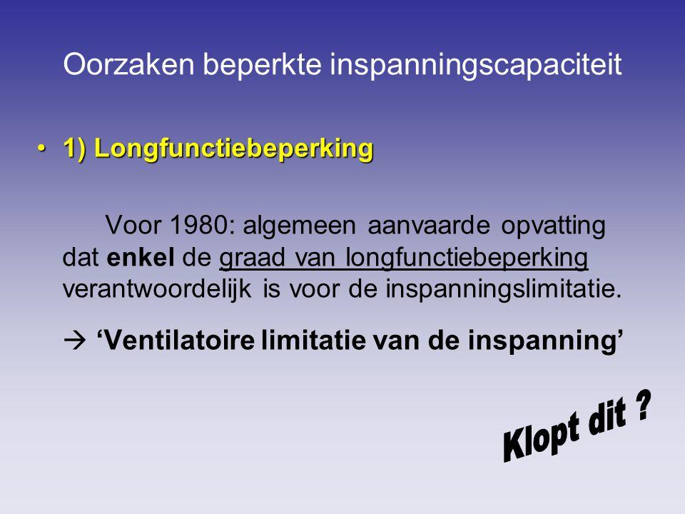 Oorzaken beperkte inspanningscapaciteit 1) Longfunctiebeperking1) Longfunctiebeperking Voor 1980: algemeen aanvaarde opvatting dat enkel de graad van longfunctiebeperking verantwoordelijk is voor de inspanningslimitatie.