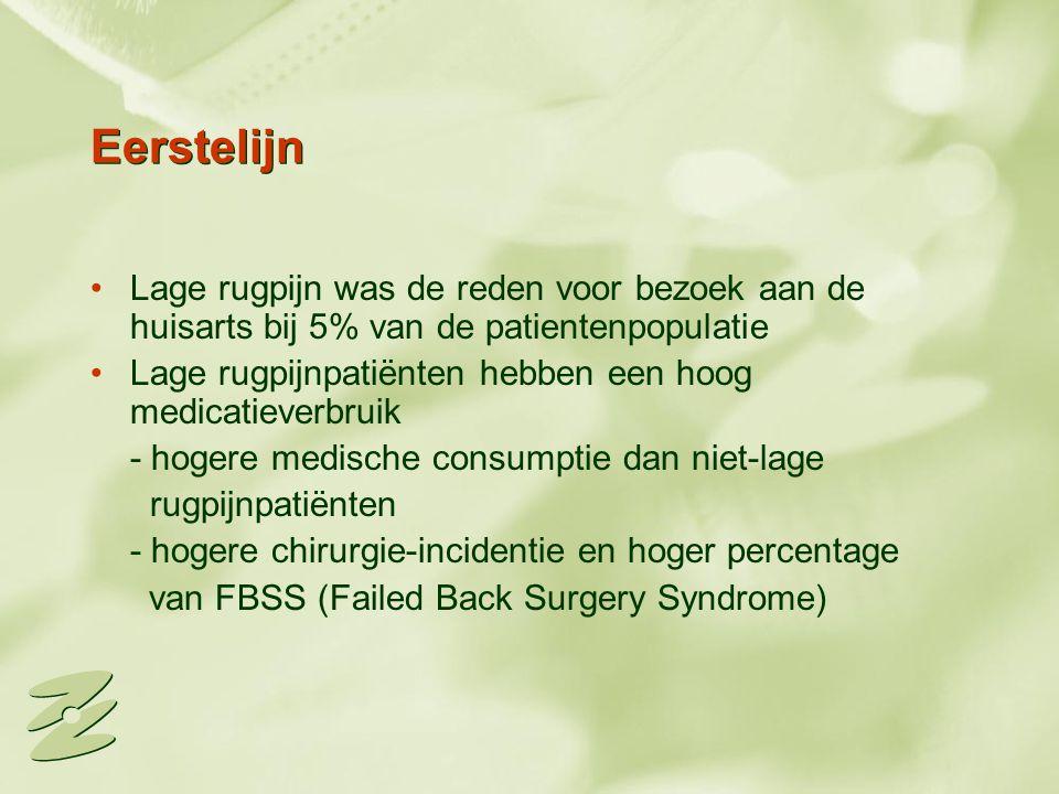 Eerstelijn Lage rugpijn was de reden voor bezoek aan de huisarts bij 5% van de patientenpopulatie Lage rugpijnpatiënten hebben een hoog medicatieverbr