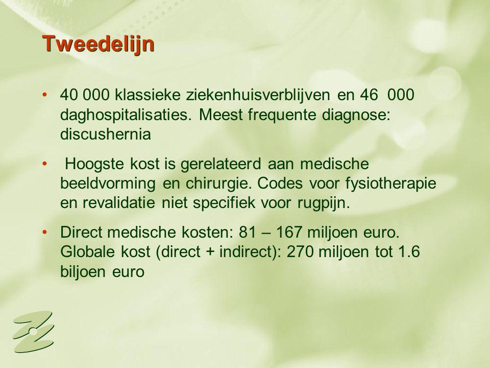 Tweedelijn 40 000 klassieke ziekenhuisverblijven en 46 000 daghospitalisaties. Meest frequente diagnose: discushernia Hoogste kost is gerelateerd aan