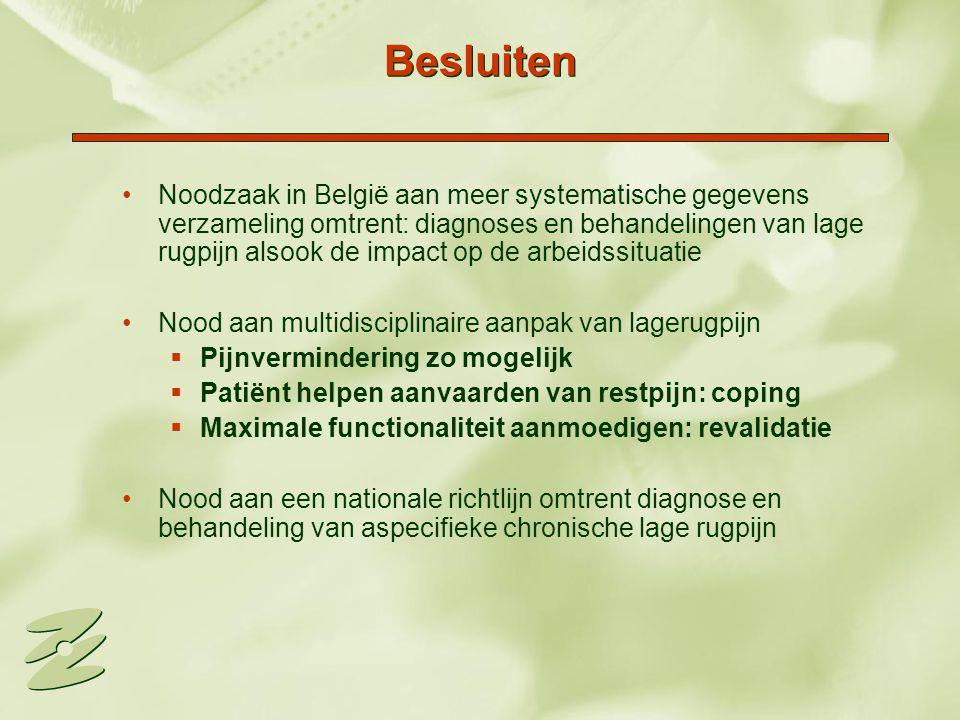 Besluiten Noodzaak in België aan meer systematische gegevens verzameling omtrent: diagnoses en behandelingen van lage rugpijn alsook de impact op de a