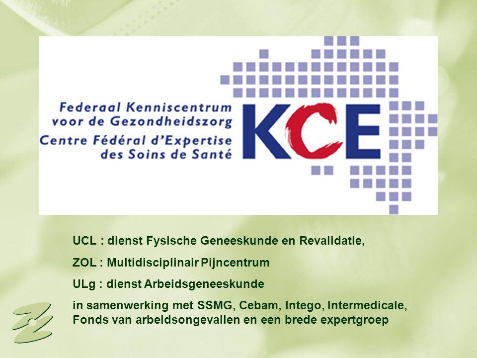 UCL : dienst Fysische Geneeskunde en Revalidatie, ZOL : Multidisciplinair Pijncentrum ULg : dienst Arbeidsgeneeskunde in samenwerking met SSMG, Cebam,