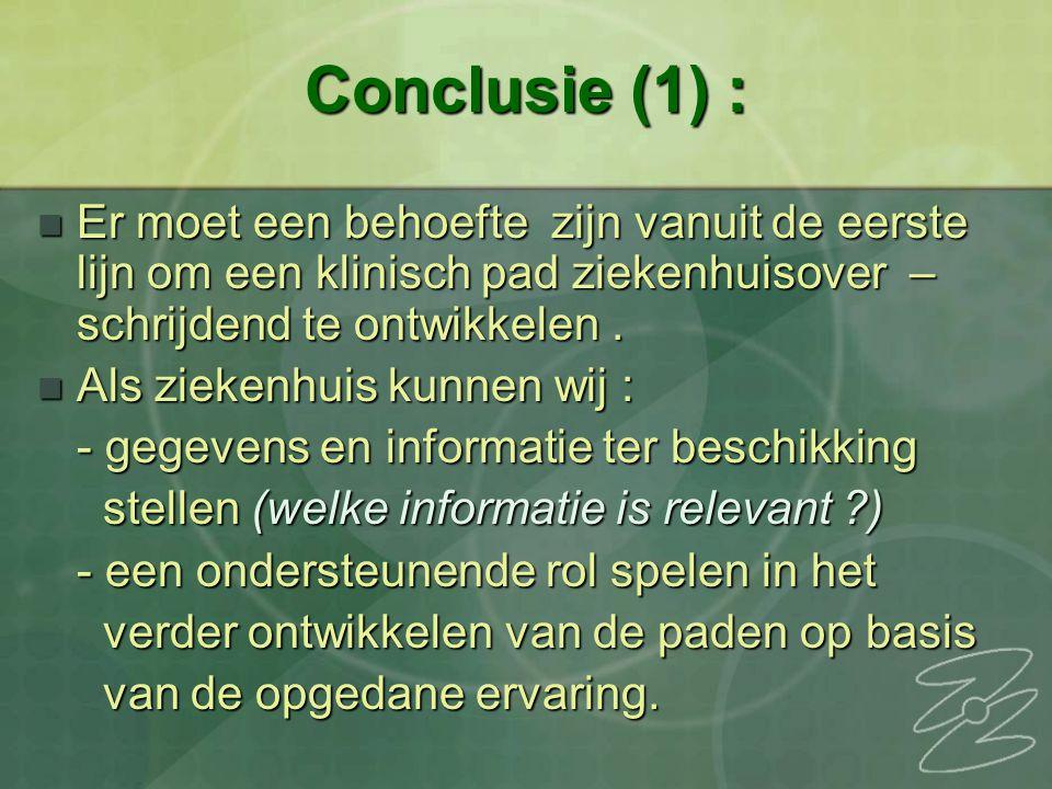 Conclusie (1) : Er moet een behoefte zijn vanuit de eerste lijn om een klinisch pad ziekenhuisover – schrijdend te ontwikkelen. Er moet een behoefte z