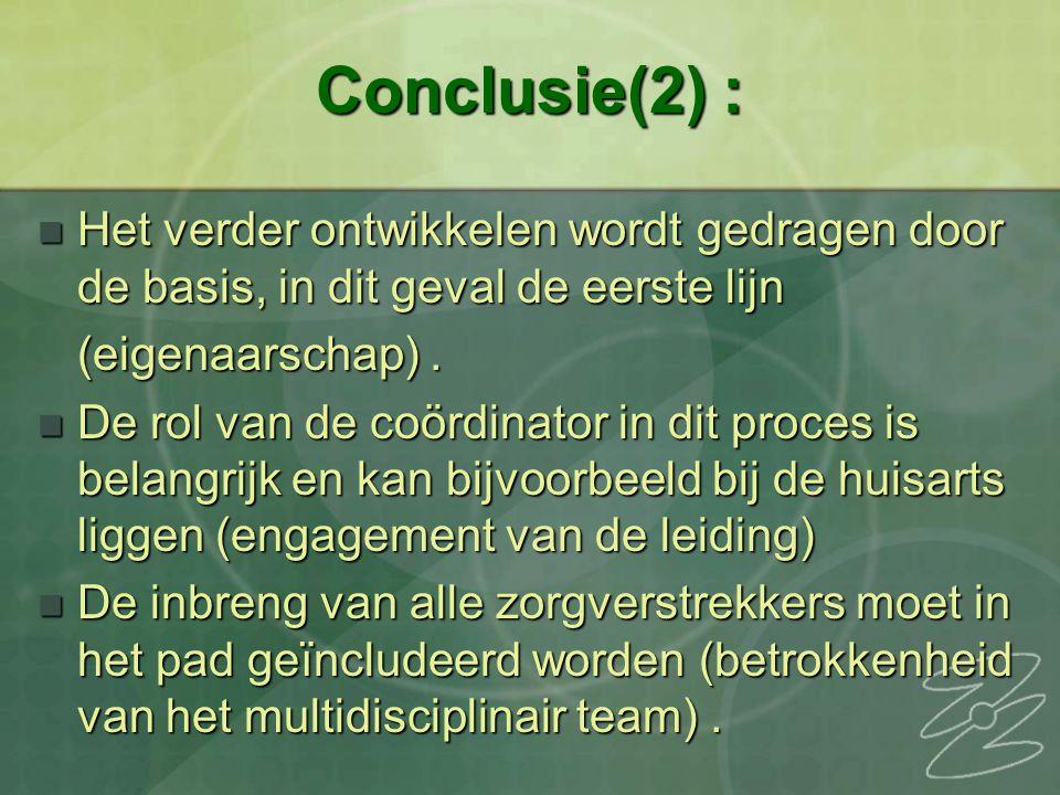 Conclusie(2) : Het verder ontwikkelen wordt gedragen door de basis, in dit geval de eerste lijn Het verder ontwikkelen wordt gedragen door de basis, in dit geval de eerste lijn (eigenaarschap).