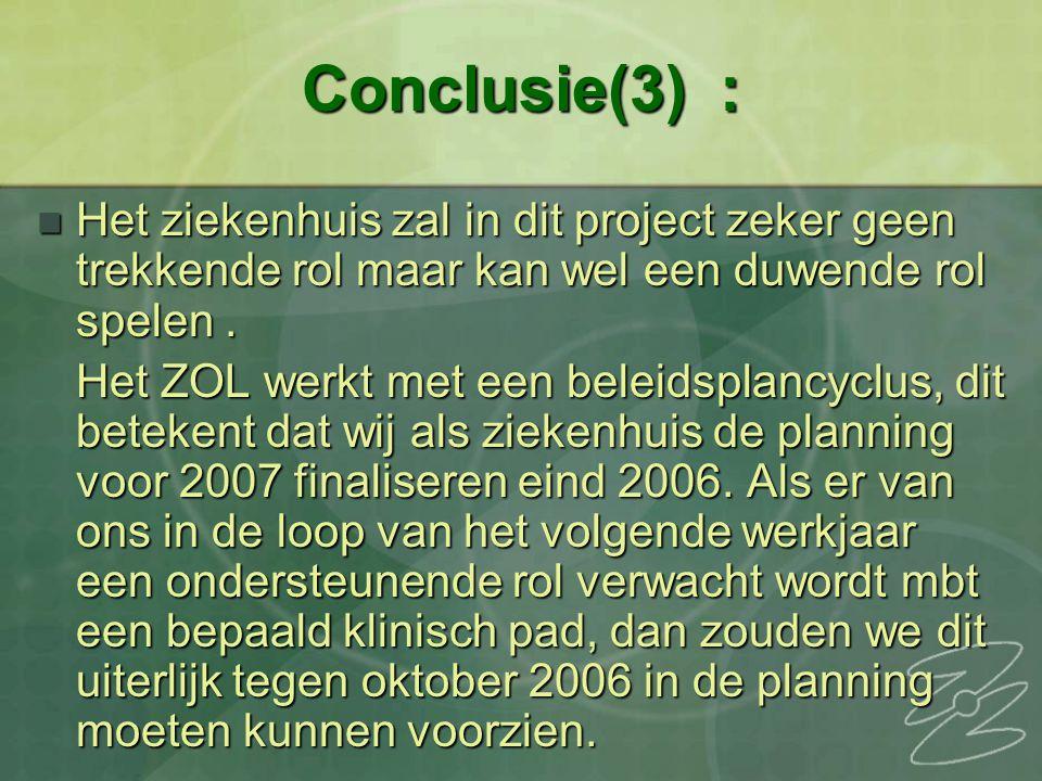 Conclusie(3) : Het ziekenhuis zal in dit project zeker geen trekkende rol maar kan wel een duwende rol spelen. Het ziekenhuis zal in dit project zeker