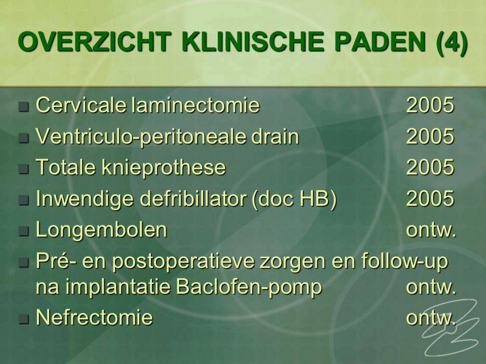 OVERZICHT KLINISCHE PADEN (4) Cervicale laminectomie2005 Cervicale laminectomie2005 Ventriculo-peritoneale drain2005 Ventriculo-peritoneale drain2005 Totale knieprothese2005 Totale knieprothese2005 Inwendige defribillator (doc HB)2005 Inwendige defribillator (doc HB)2005 Longembolenontw.