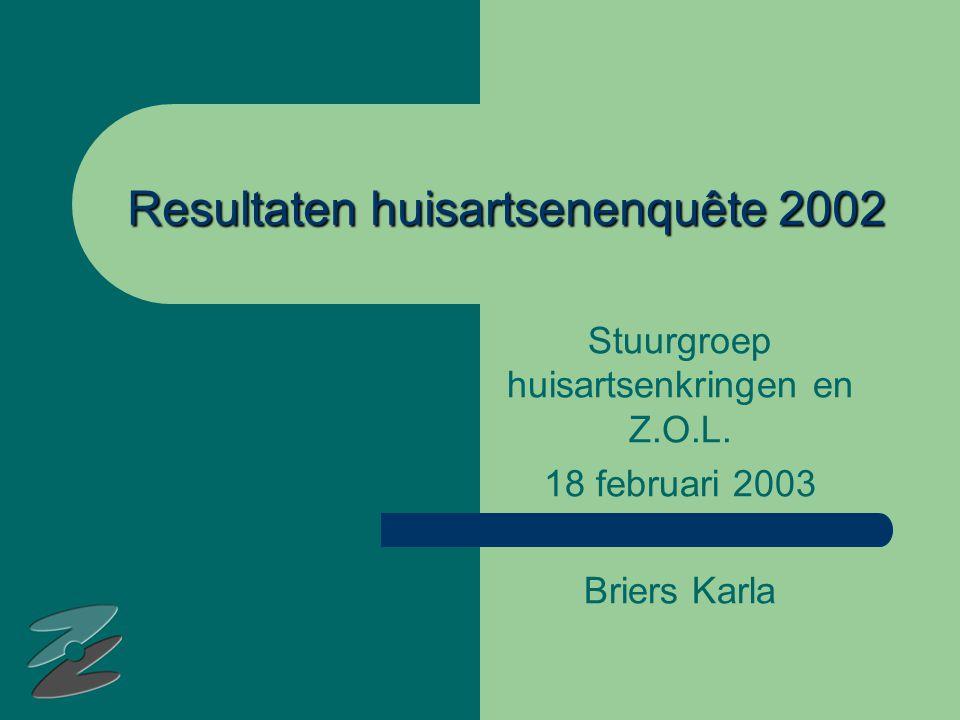 Resultaten huisartsenenquête 2002 Stuurgroep huisartsenkringen en Z.O.L.