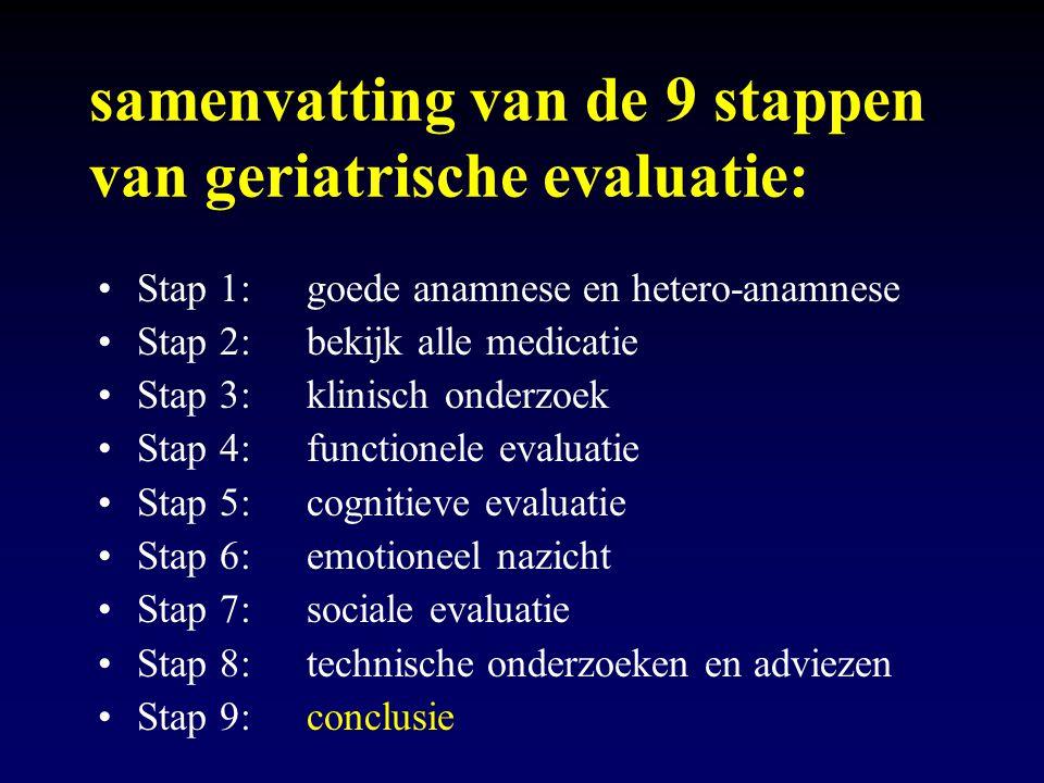 samenvatting van de 9 stappen van geriatrische evaluatie: Stap 1: goede anamnese en hetero-anamnese Stap 2: bekijk alle medicatie Stap 3: klinisch ond