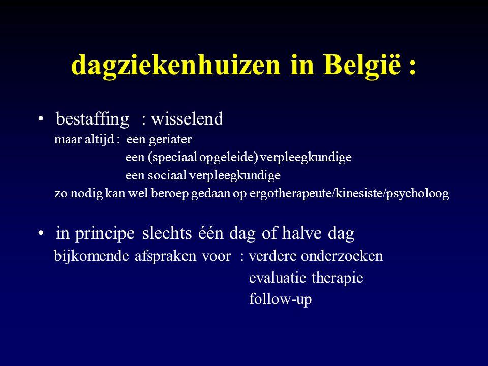 dagziekenhuizen in België : bestaffing : wisselend maar altijd : een geriater een (speciaal opgeleide) verpleegkundige een sociaal verpleegkundige zo