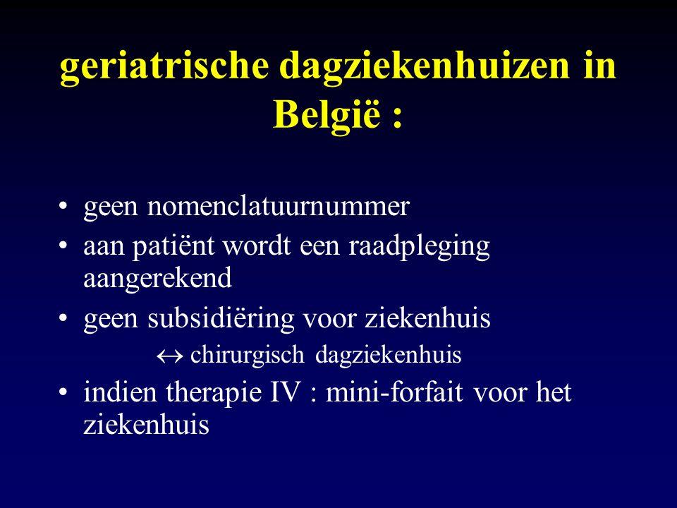 geriatrische dagziekenhuizen in België : geen nomenclatuurnummer aan patiënt wordt een raadpleging aangerekend geen subsidiëring voor ziekenhuis  chi