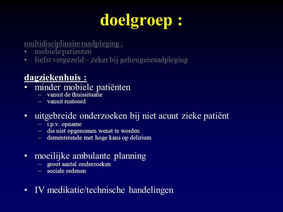 doelgroep : multidisciplinaire raadpleging : mobiele patienten liefst vergezeld – zeker bij geheugenraadpleging dagziekenhuis : minder mobiele patiënt