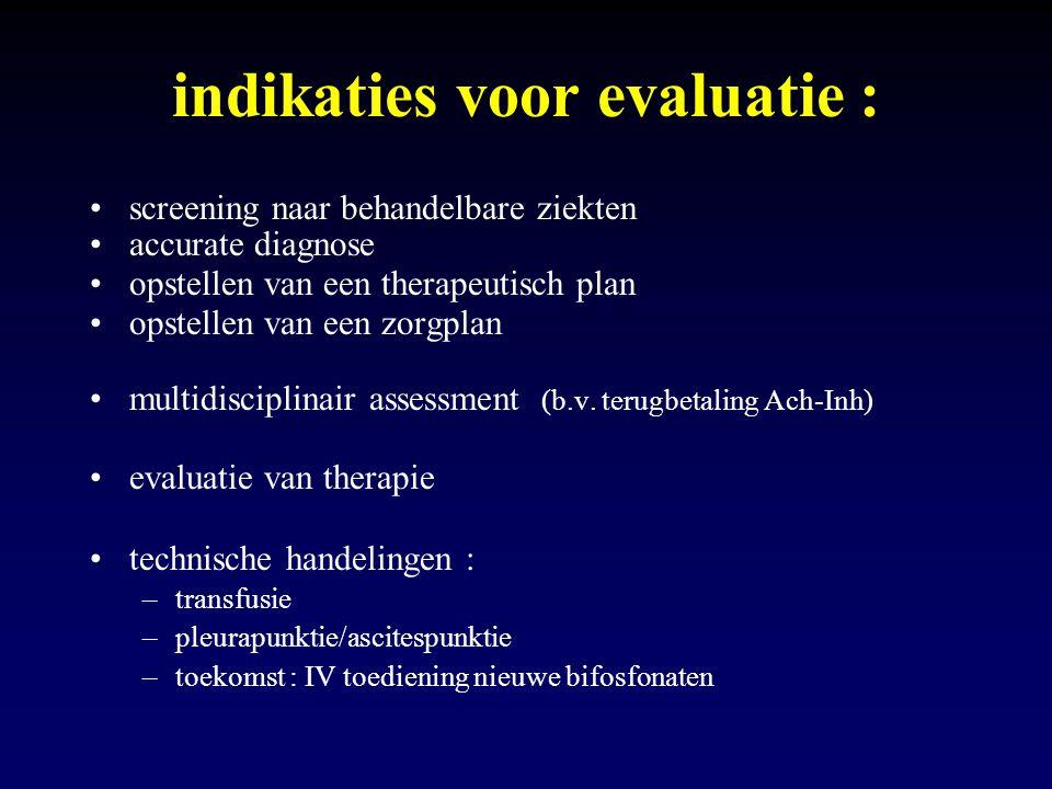 indikaties voor evaluatie : screening naar behandelbare ziekten accurate diagnose opstellen van een therapeutisch plan opstellen van een zorgplan mult